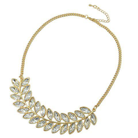Chic Faux Gemstone Leaf Shape Necklace For Women - WHITE