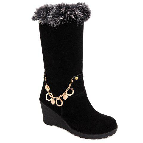 Trendy Solid Colour and Chain Design Mid-Calf Boots For Women - BLACK 37