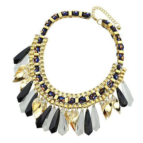 Vintage Beads Geometric Hollow Out Necklace - BLACK