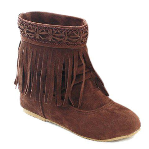 Pretty Flock and Fringe Design Short Boots For Women - BROWN 39