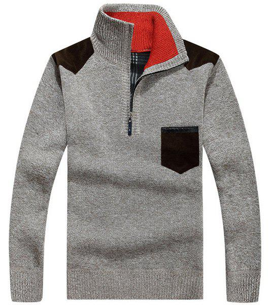 Color Block Fabric Spliced One Patch Pocket Half-Zipper Turtleneck Long Sleeves Men's Flocky Sweater - GRAY XL