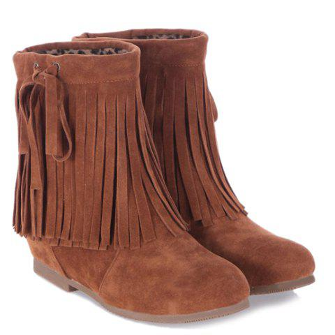 Sweet Fringe and Slip-On Design Short Boots For Women - BROWN 38