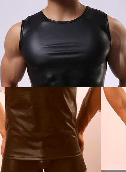 Sexy Round Neck Close-Fitting Sleeveless Men's PU-Leather Tank Top - BLACK M