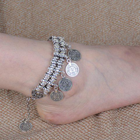 Classic Dull Polish Punk Coin Tassel Anklet For Women -  SILVER