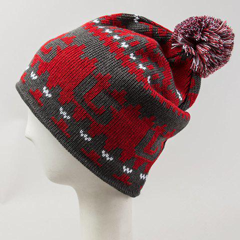 Chic Woolen Yarn Ball Embellished Abstract Pattern Women's Knitted Beanie