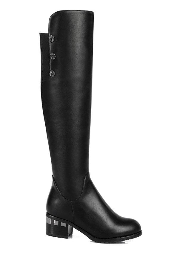 Trendy Chunky Heel and Black Design Women's Knee-High Boots - BLACK 39