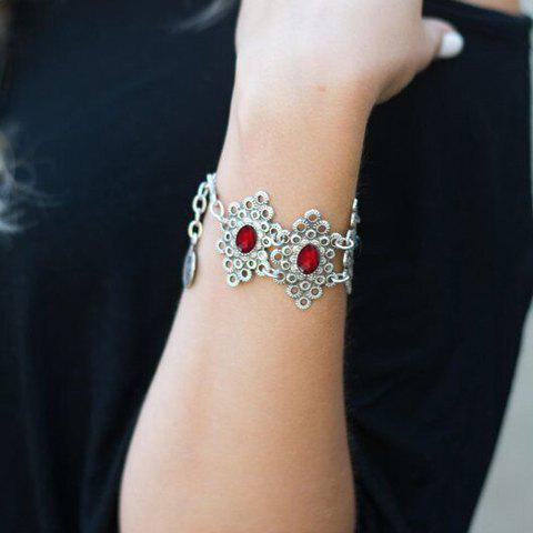 Chic Dull Polish Faux Ruby Hollow Out Round Bracelet For Women - SILVER