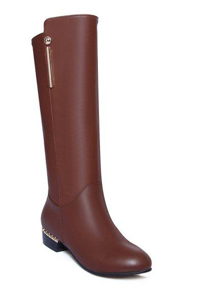 Simple Metal and Solid Color Design Women's Mid-Calf Boots - BROWN 38