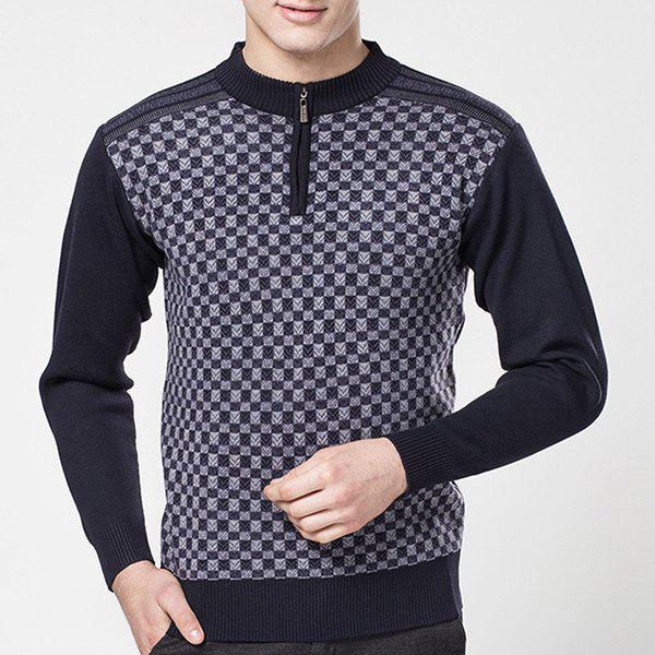 Hot Sale Zipper Half-Collar Color Block Special Plaid Jacquard Long Sleeves Men's Fitted Sweater - COLORMIX XL