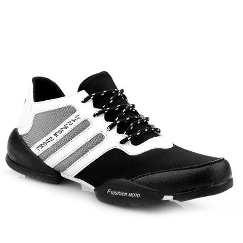 Personalized Lace-Up and Striped Design Sneakers For Men - WHITE/BLACK 41