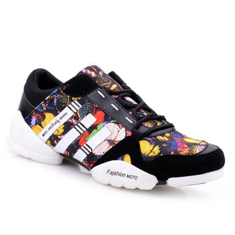 Personalized Floral Print and Lace-Up Design Sneakers For Men - BLACK 40