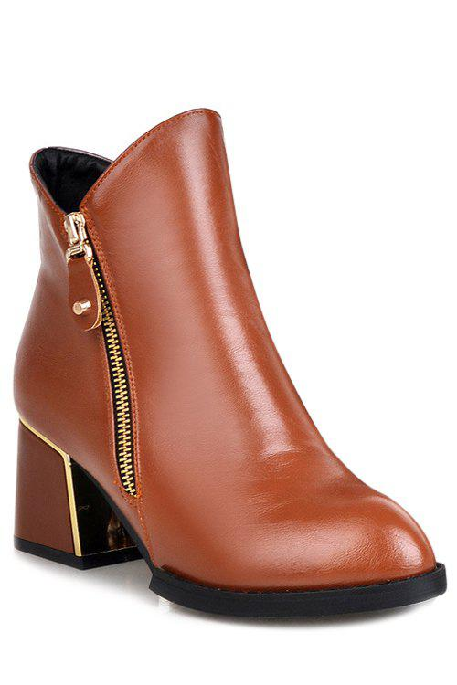 Preppy Chunky Heel and Pure Color Design Women's Short Boots - BROWN 35