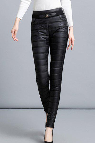 Chic Thick High Waist Solid Color Spliced Bodycon Leggings For Women - BLACK S