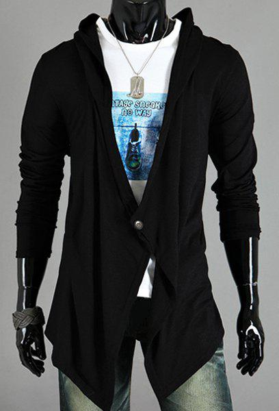 Asymmetric One Button Single-Breasted Solid Color Hooded Long Sleeves Men's Cardigan - BLACK XL