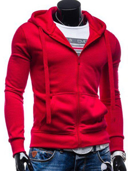 Simple Drawstring Hooded Front Pocket Solid Color Fitted Men's Long Sleeves Hoodie - RED XL