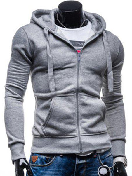 Simple Drawstring Hooded Front Pocket Solid Color Fitted Men's ...