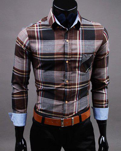 Slimming Shirt Collar One Patch Pocket Hit Color Plaid Long Sleeves Men's Button-Down Shirt - COFFEE XL