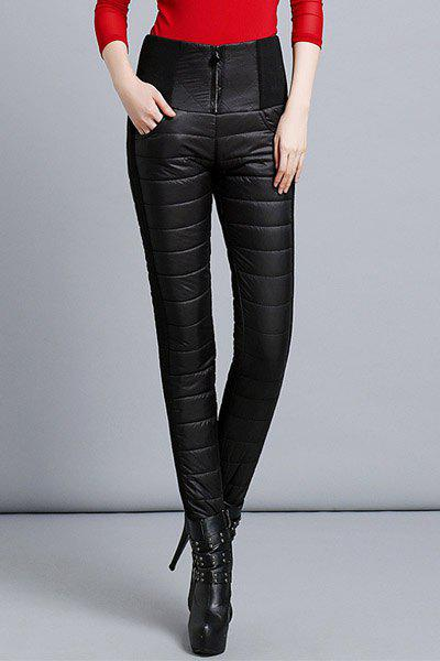 Stylish High-Waisted Skinny Thicken Pants For Women - BLACK S