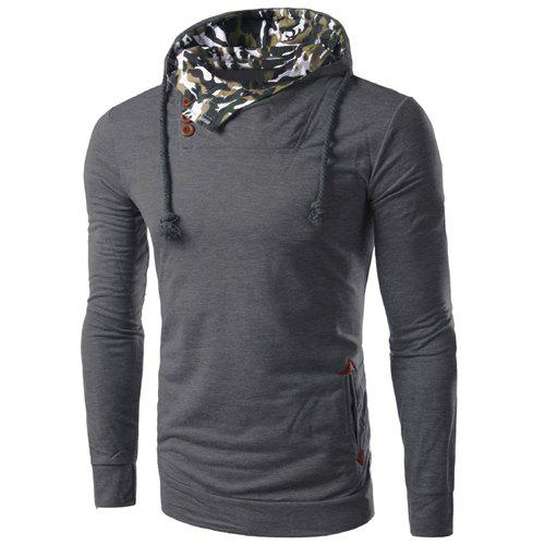 Inclined Single-Breasted PU Leather Spliced Elbow Patch Camo Hooded Long Sleeves Men's Hoodie