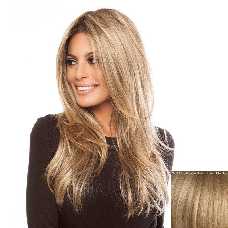 Fluffy Natural Wave Charming Centre Parting Vogue Long Women's Lace Front Human Hair Wig - ASH BLONDE /
