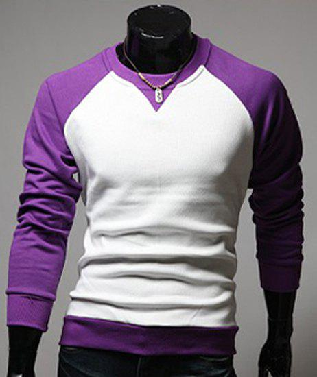 Classic Color Lump Splicing Round Neck Long Sleeves Men's Slimming T-Shirt - PURPLE L