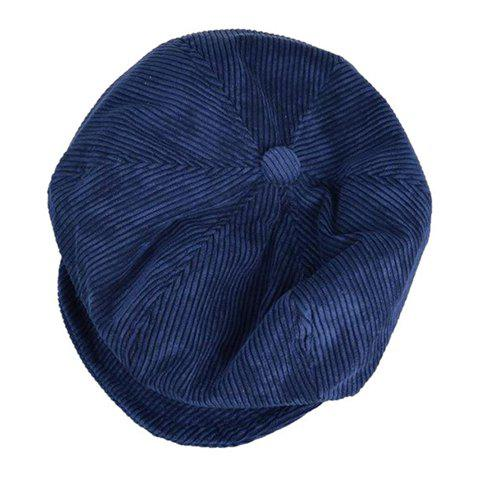 Chic Retro Style Solid Color Women's Corduroy Newsboy Hat - CADETBLUE