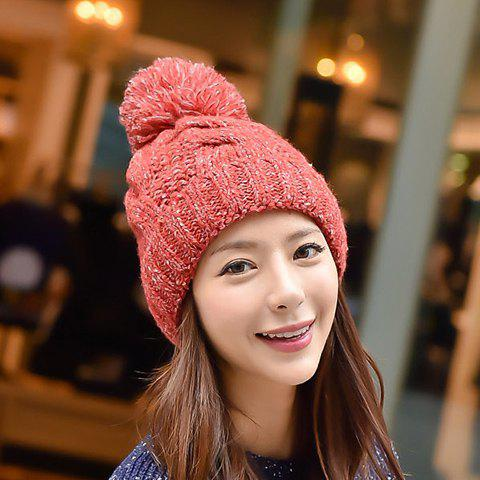 Chic Woolen Yarn Ball and Hemp Flowers Embellished Knitted Beanie For Women