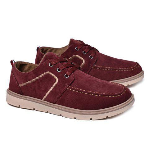 Charming Lace-Up and Suede Design Casual Shoes For Men - WINE RED 40