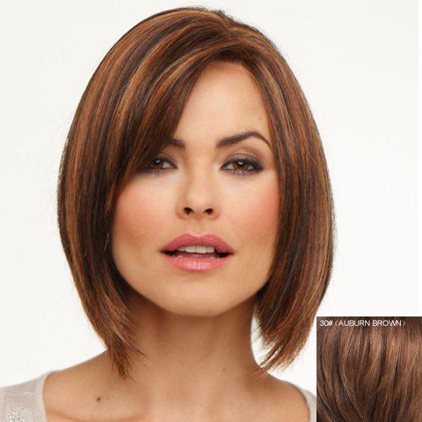Bob Style Fashion Straight Graceful Short Layered Side Bang Women's Lace Front Human Hair Wig - AUBURN BROWN