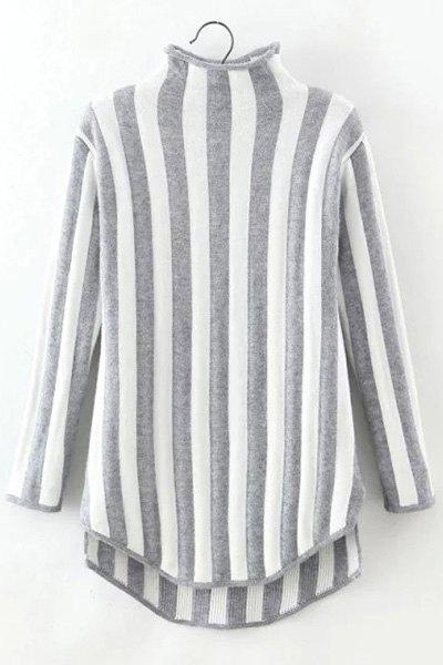 Stylish Turtleneck Striped Long Sleeve Pullover Sweater For Women - GRAY ONE SIZE(FIT SIZE XS TO M)