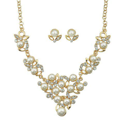 A Suit of Stylish Rhinestoned Faux Pearl Necklace and Earrings For Women