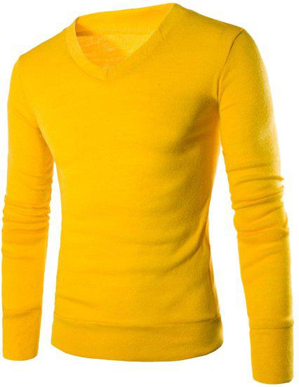 Laconic V-Neck Solid Color Slimming Men's Long Sleeves Sweater - YELLOW 2XL