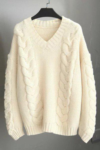 Stylish V-Neck Long Sleeve Pullover Sweater For Women - OFF WHITE ONE SIZE(FIT SIZE XS TO M)
