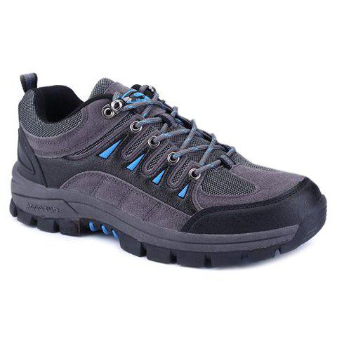Concise Lace-Up and Suede Design Athletic Shoes For Men - GRAY 41