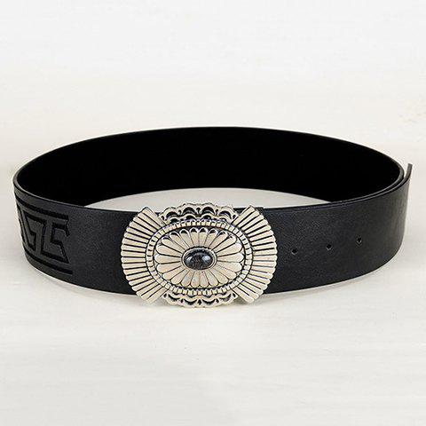 Chic Ethnic Style Carve Alloy Embellished PU Waistband For Women - BLACK