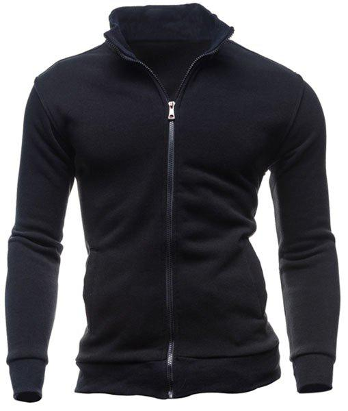 Patch Pocket Solid Color Stand Collar Long Sleeves Men's Fitted Sweatshirt - BLACK L
