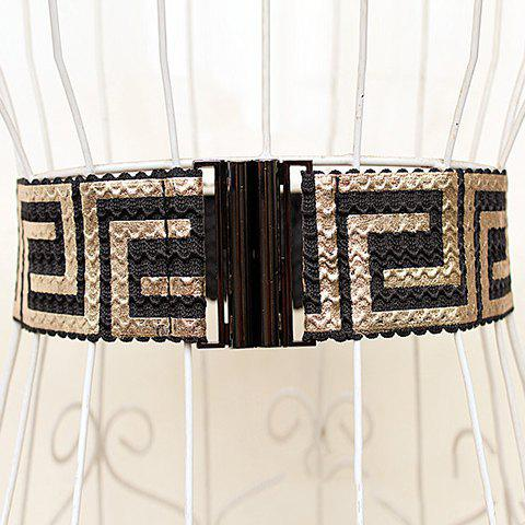 Chic Retro Style Elastic Wide Waistband For Women - GOLDEN