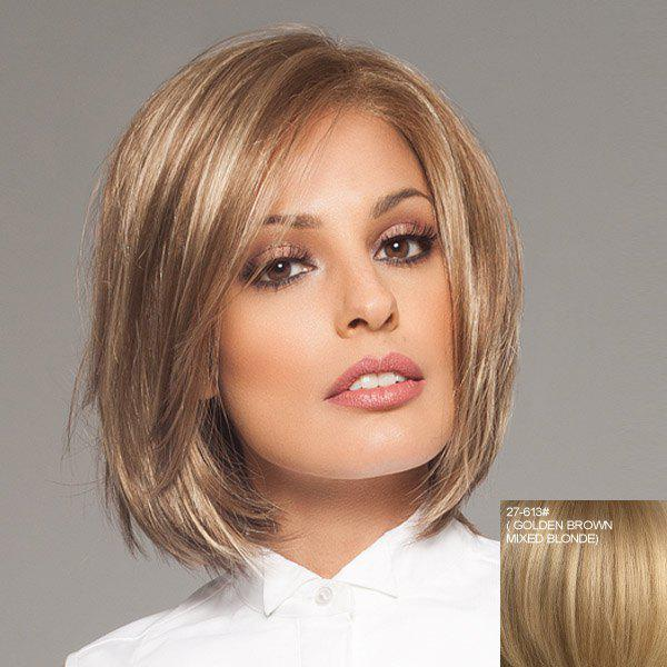 Human Hair Charming Short Side Bang Fashion Straight Lace Front Wig For Women - ASH BLONDE /