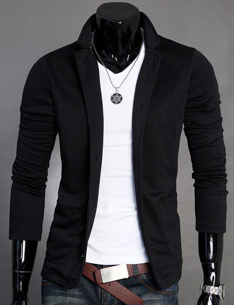 Splicing Design Stand Collar Long Sleeve Slimming Cotton Blends Men's Blazer - BLACK M