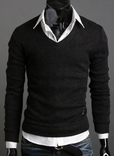 Laconic V-Neck Solid Color Long Sleeves Men's Slimming Sweater
