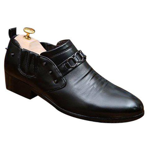 Simple Rivets and PU Leather Design Formal Shoes For Men - BLACK 43