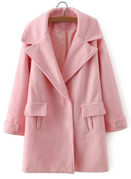 Solid Color Turn-Down Collar Long Sleeve Coat For Women - PINK L