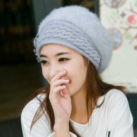 Chic Flower Shape and Faux Fur Embellished Knitted Beret For Women - GRAY