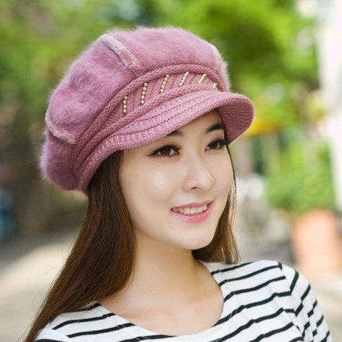 Chic Faux Fur Stripy Faux Pearl Embellished Knitted Newsboy Hat For Women