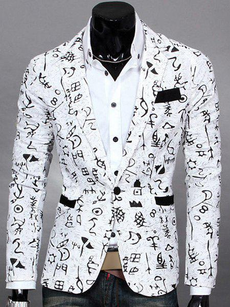 Symbol Print Lapel Design Long Sleeve Slimming Cotton Blends Men's Blazer - WHITE M