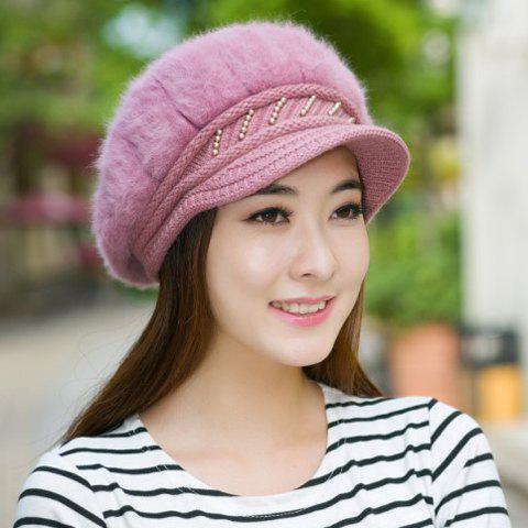 Chic Faux Fur and Faux Pearl Embellished Knitted Newsboy Hat For Women - RANDOM COLOR