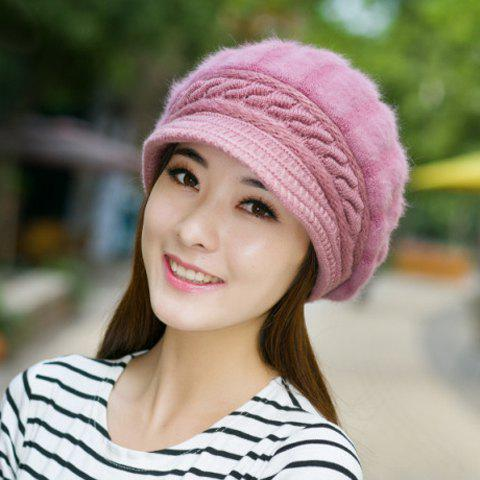 Chic Stripy Faux Fur Embellished Knitted Newsboy Hat For Women