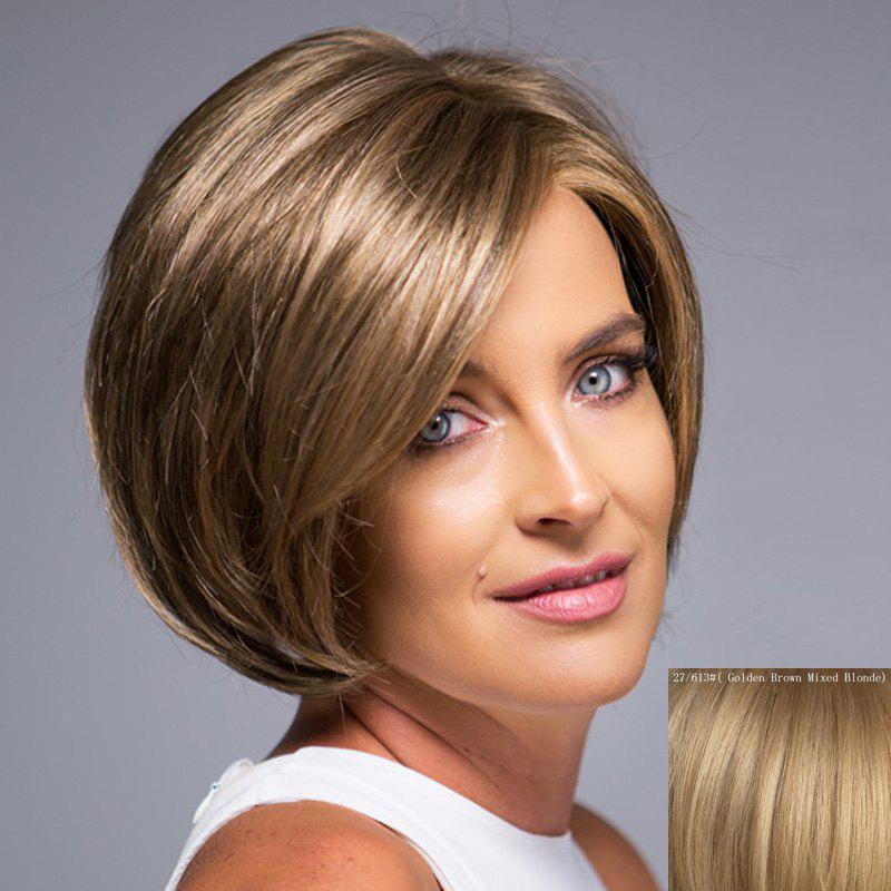 Nobby Short Side Bang Lace Front Outstanding Fluffy Natural Straight Human Hair Wig For Women - ASH BLONDE 2 / 3