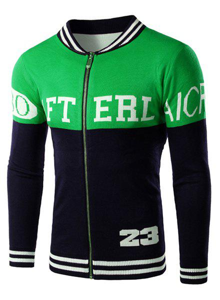 Hit Color Letters Stripes Jacquard Stand Collar Long Sleeves Men's Fitted Cardigan - M GREEN