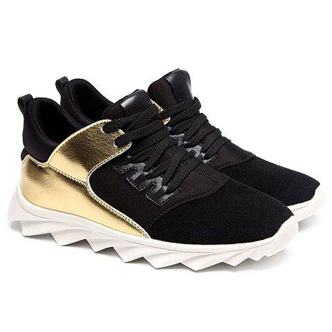 Personalized Lace-Up and Suede Design Sneakers For Men - GOLDEN 39